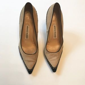 Shoes - Manolo Blahnik spectator two tone nude pump